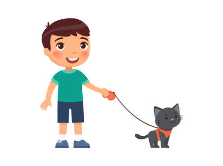A joyful little boy is holding a cute black kitten on a harness. The concept of friendship with pets. Cartoon characters isolated on white background. Flat vector color illustration.
