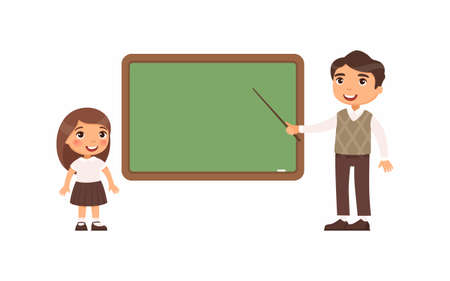 Teacher and schoolgirl at classroom flat vector illustration. Male tutor and pupil standing near empty chalkboard cartoon characters. Girl at school class isolated on white background