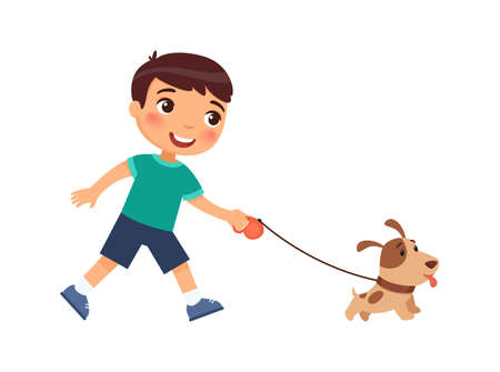 Joyful little boy is walking on a leash of a cute puppy. The concept of friendship with pets. Cartoon characters isolated on white background. Flat vector color illustration.