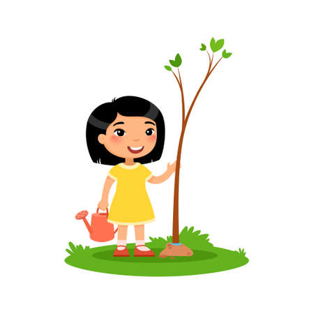 Cute little girl planting tree flat vector illustration. Happy asian kid gardening cartoon character. Child cultivating young green plant isolated on white background. Nature protection concept