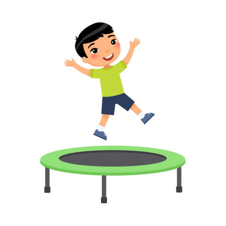 Little asian boy jumping on trampoline flat vector illustration. Happy sportive child having fun, playing. Preteen cheerful child enjoying game, childhood activity. Isolated cartoon character on white