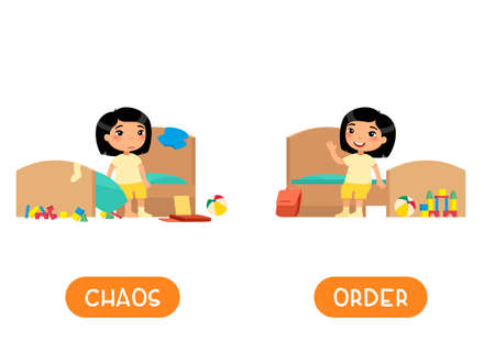 Opposites concept, CHAOS and ORDER. Childish word card for English learning vector template. Flashcard with antonyms. Little asian girl in tidy and messy bedroom flat illustration with typography