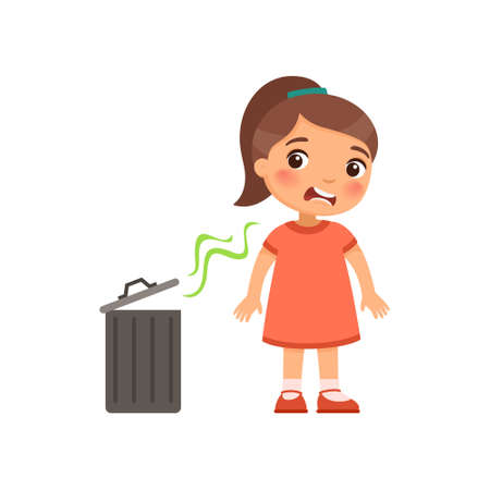 The little girl does not like the bad smell from the trash can. Expression of emotion on the face of a child. Cartoon character isolated on white background. Flat vector color illustration.