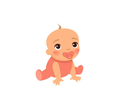 Little cute baby in pink clothes. Baby with a pacifier in his mouth. The concept of rejection of the nipples, breastfeeding. Cartoon character. Flat vector illustration.