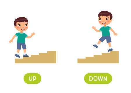 Opposites concept, UP and DOWN. Word card for language learning. Little boy goes up the stairs, goes down. Flashcard with antonyms for children vector template. Flat illustration with typography. 일러스트