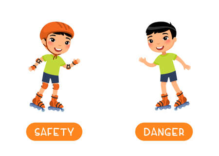 Antonyms concept, SAFETY and DANGER. Flashcard with antonyms for kids vector template. Word card for foreign language studying. Cute asian boy roller skating flat illustration with typography