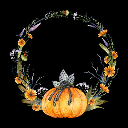 Halloween Party Invitation, empty template. Clipart wreath with pumpkin and autumn flowers. Watercolor illustration on black background
