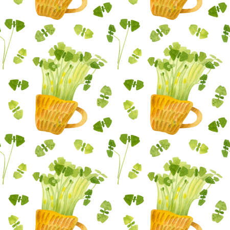 Cute ceramic cup with green basil seedlings. Bright spring crops. Fresh microgreens, cress salad. Garden season. Hand drawn watercolor seamless pattern. Wallpaper, wrapping paper design, textile, scrapbooking, digital paper. 스톡 콘텐츠