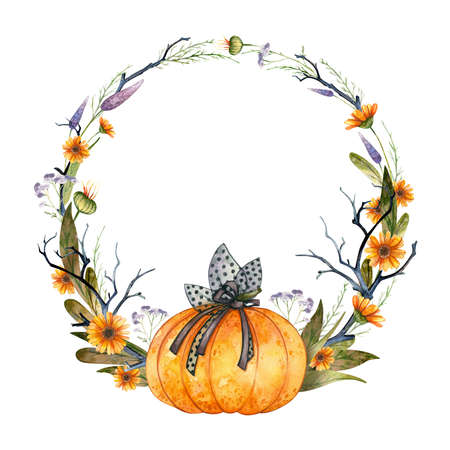 Halloween Party Invitation, empty template. Clipart wreath with pumpkin and autumn flowers. Watercolor illustration on white background