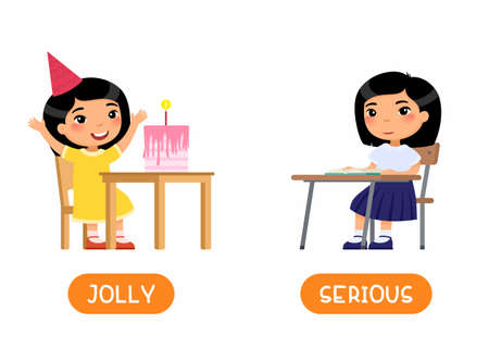 JOLLY and SERIOUS antonyms word card vector template. Opposites concept. Flashcard for english language learning. Child at school, asian girl celebrating holiday flat illustration with typography