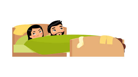 Asian young couple in bed. Clothes are scattered. Satisfied man and displeased woman. Unhappy married couple. Sexual problems concept. Colorful vector illustration in flat cartoon style.