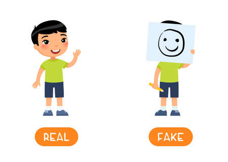REAL and FAKE antonyms word card vector template. Opposites concept. Flashcard for english language learning with flat character. Boy holding drawing of smiling face illustration with typography 일러스트