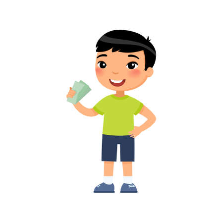 Little asian boy with money in hand flat vector illustration. Rich happy child holding banknotes cartoon character. Earnings savings, profit, income. Wealthy kid with cash isolated on white