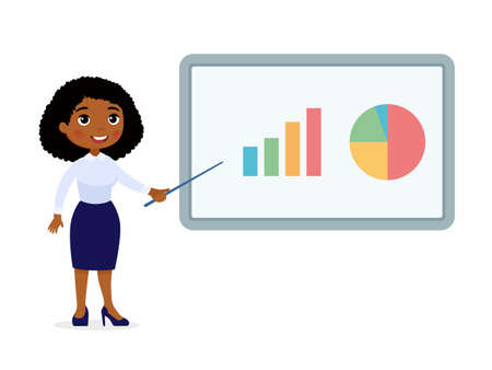Dark skin woman in an office suit points to a demo board with graphs. Character with a smile on his face. Vector illustration on a white background.