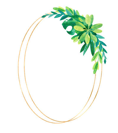 Empty golden oval frame with tropical leaves. Wedding invitation. Jungle composition hand drawn illustration.  Elegant green template on white background. Blank frame with exotic leaves composition isolated on white background. 스톡 콘텐츠
