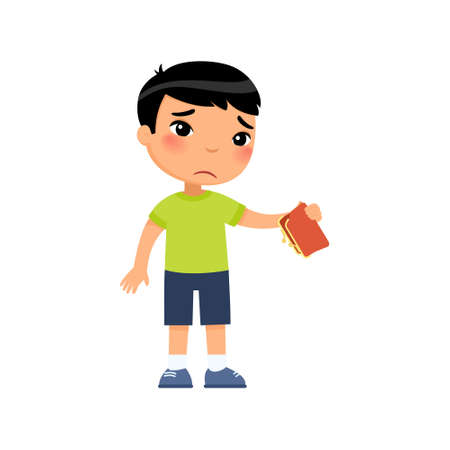Little asian boy with empty wallet in hand flat vector illustration. Upset poor child cartoon character. Poverty, unemployed person in need. Frustrated little kid isolated design element on white 일러스트