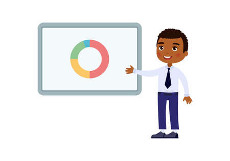 Dark skin man in an office suit points to a demo board with graphs. Character with a smile on his face. Vector illustration on a white background.