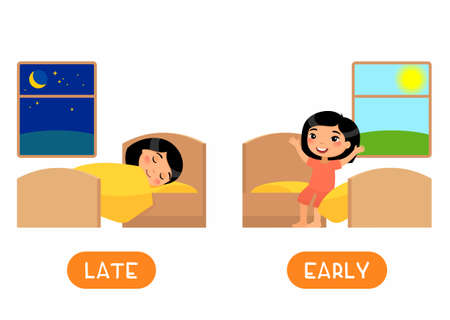 LATE and EARLY antonyms flashcard flat vector template. Opposites concept. Word card for english language learning with cartoon character. Asain girl waking up and sleeping illustration with typography