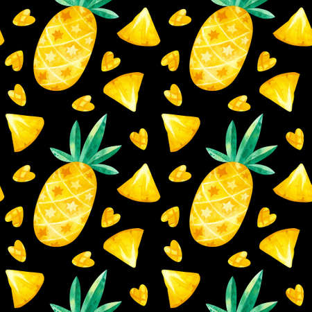 Pineapples drawings seamless pattern on dark background. Summer tropical fruits hand drawn texture. Watercolor creative wallpaper, wrapping paper, textile design, scrapbooking, digital paper. 스톡 콘텐츠