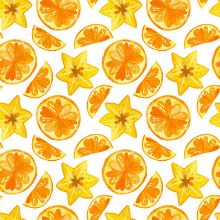 Citruses and carambola drawings seamless pattern. Summer fruits mix texture. Watercolor creative wallpaper, wrapping paper, textile design, scrapbooking, digital paper.