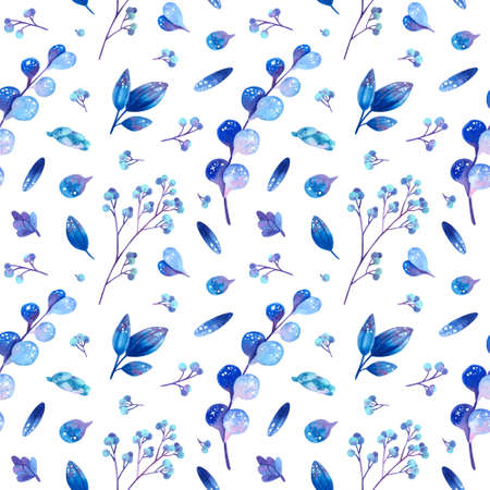 Seamless pattern with blue cosmic plants. Stylized leaves and berries with symbols of stars. Wallpaper, wrapping paper design, textile, scrapbooking, digital paper. Watercolor hand drawn illustrations on white background. 스톡 콘텐츠