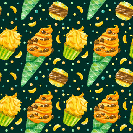 Ice cream, macaroons,  cupcakes and marmalade hand drawn seamless pattern. Summer desserts texture on dark background. Creative wallpaper, wrapping paper, textile design, scrapbooking, digital paper.