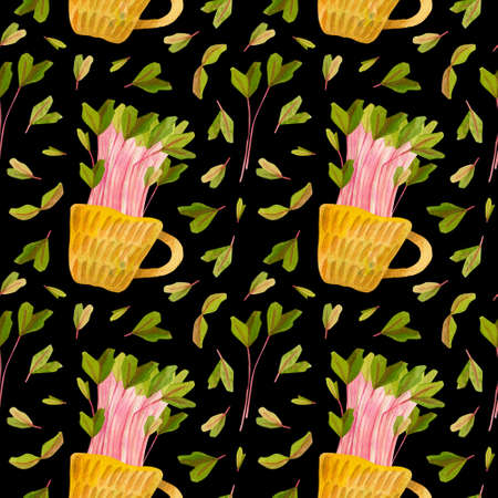 Cute ceramic cup with green beet seedlings. Bright spring crops. Fresh microgreens, cress salad. Garden season. Hand drawn watercolor seamless pattern. Wallpaper, wrapping paper design, textile, scrapbooking, digital paper.