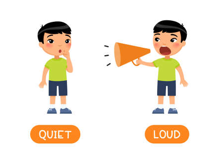 LOUD and QUIET antonyms word card vector template. Flashcard for english language learning. Opposites concept.  Little asian boy screams loudly into megaphone, the child whispers softly.  Illustration with typography