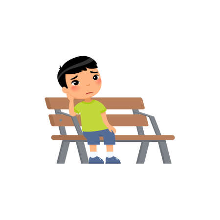 Sad little asian boy. Unhappy child sitting on bench. Lonely boy is bored in the playground.Flat vector illustration. Isolated cartoon character on white background.