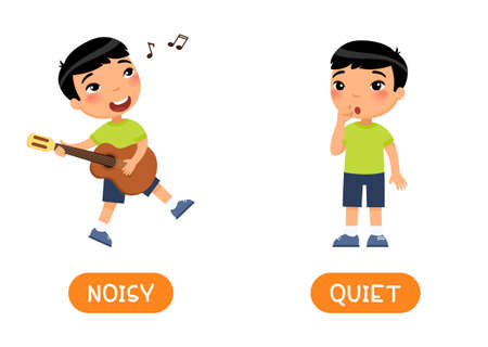 NOISY and QUIET Illustration of opposites. Little asian boy splaying guitar and the girl is silent. Card for teaching aid, for a foreign language learning. Vector illustration on white background, cartoon style.
