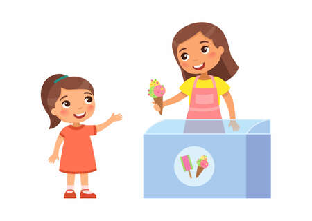 Smiling seller young woman gives little girl ice cream. Joyful child, summer vacation. Pocket money concept for kids. Cartoon characters. Flat vector illustration.