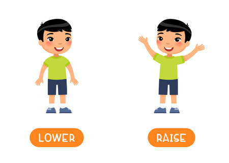 RAISE and LOWER antonyms flashcard vector template. Opposites concept. Word card for english language learning with flat characters. Asian boy elevating hands illustration with typography