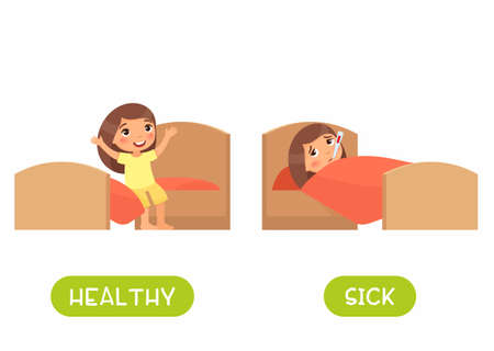 Healthy and sick antonyms flashcard vector template. Word card for english language learning with flat characters. Opposites concept. Girl in bed with thermometer illustration with typography 일러스트