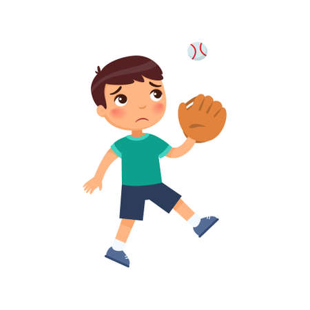 Little sad boy didn't catch the baseball with the glove. Sport failure concept. Cartoon character isolated on white background. Flat vector color illustration.