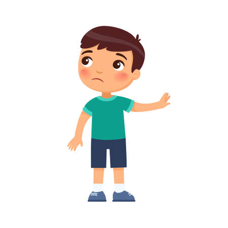 Displeased little boy shows refusal gesture. Naughty child, bad behavior. Child psychology. Cartoon character isolated on white background. Flat vector color illustration.