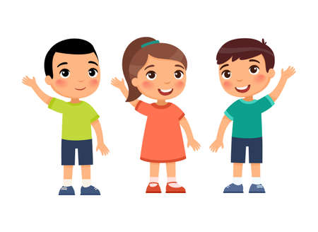 Children hold their hands up in agreement. Cute cartoon characters isolated on white background. Flat vector color illustration.