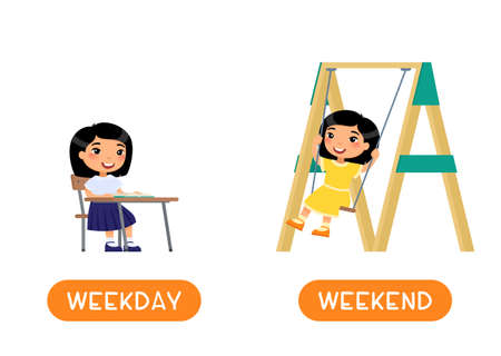 WEEKDAY and WEEKEND antonyms word card vector template. Flashcard for english language learning. Opposites concept. Little asian girl sits at school desk, joyful girl swinging on a swing. Illustration with typography
