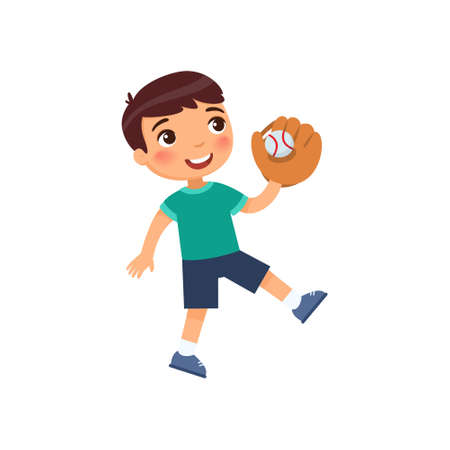 Little happy boy caught a baseball ball with a glove. Sports success concept. Cartoon character isolated on white background. Flat vector color illustration.