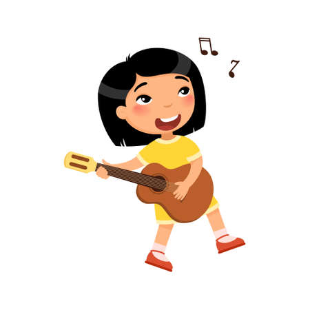 Asian girl playing guitar and singing song flat vector illustration. Young female cartoon character holding musical instrument and dancing. Talented child hobby, leisure isolated on white background