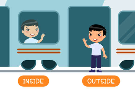 Educational word card with opposites. Antonyms concept, INSIDE and OUTSIDE.  Flash card for English studying. Little asian schoolboy is sitting in train, child is standing outside.  Flat illustration with typography