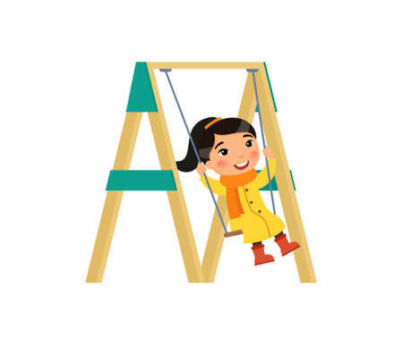 Little asian girl swing on a swing. Autumn holidays. Cute flat characters. Vector illustration on a white background.