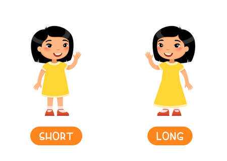 Asian girl in SHORT and LONG dresses illustration with typography. Opposites concept. Word card for english language learning with flat characters. Flashcard vector template.