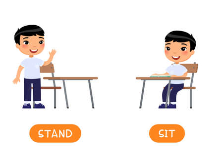 Opposites concept, STAND and SIT. Educational word card with schoolkid vector template. Flash card for foreign language with school student. Little asian schoolboy flat illustration with typography 일러스트