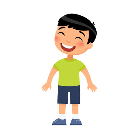 Laughing little boy flat vector illustration. Cheerful asian child with a smile on face standing alone cartoon character. Lonely kid in good mood, person happy expression isolated on white background