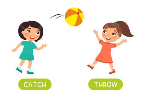 Antonyms concept, THROW and CATCH. Educational flash card with kids playing ball template. Cute little girls have fun. Word card for english language learning with opposites. Flat vector illustration with typography 일러스트