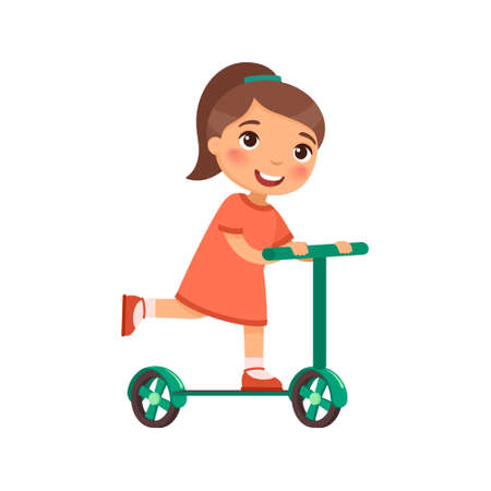 Little happy girl rides a scooter. The child rides with a kick. Cartoon character isolated on white background. Flat vector color illustration. Ilustracje wektorowe