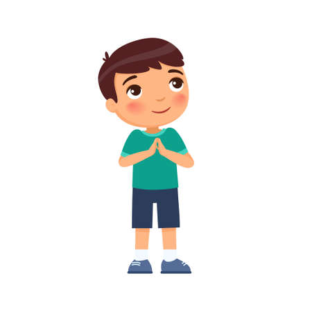 Little boy smiles and lifts up his eyes and hands in prayer. Concept of religion, prayer and Christianity. Cute cartoon character isolated on white background. Flat vector color illustration. 일러스트