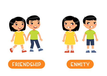 FRIENDSHIP and ENMITY antonyms flashcard vector template. Opposites concept. Word card for english language learning with flat characters. Asian girl and boy quarrel illustration with typography
