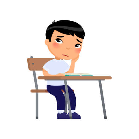 Sad elementary school student flat color vector illustration. Unhappy asian schoolboy sitting at table and reading book. Boy in school uniform doing homework isolated cartoon character on white background