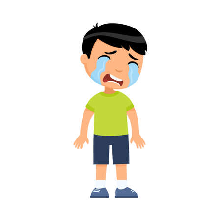 Crying sad little boy flat vector illustration. Upset asian child with tears on face standing alone cartoon character. Lonely kid in bad mood, person unhappy expression isolated on white background